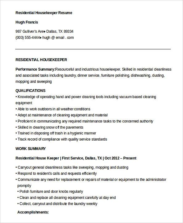 Free Download Residential Housekeeper Resume  Housekeeping Manager