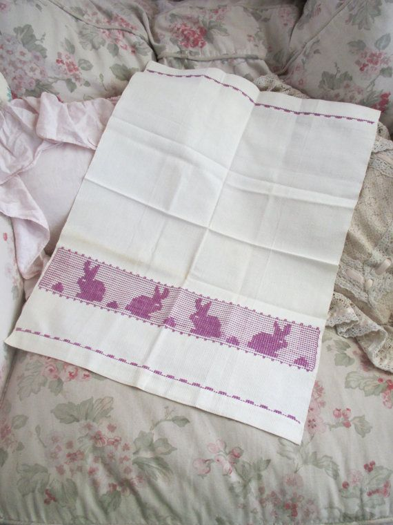 Darling Vintage Embroidered Huck Towel Purple Bunnies Easter Bunny ...
