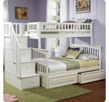 Discovery World Furniture Twin Over Full White Staircase Bunk Bed