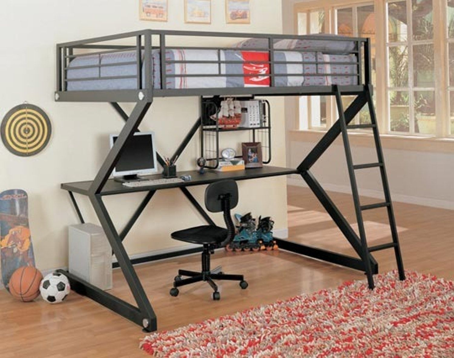 King size loft bed with stairs  Loft Bed Workstation Perfect for Students u Small Spaces  Bunk bed