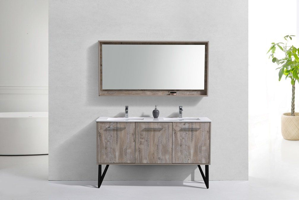 Best Ellison Nature Wood 60 Double Bathroom Vanity Set With 400 x 300