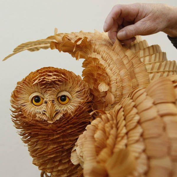 Unique Crafts Wood Chips Animal Sculptures From Sergey Bobkov