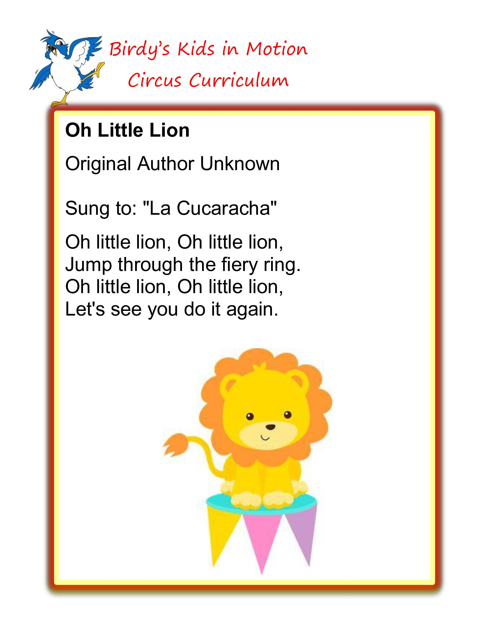 Oh Little Lion Song Birdyskids Toddlercreativemovement
