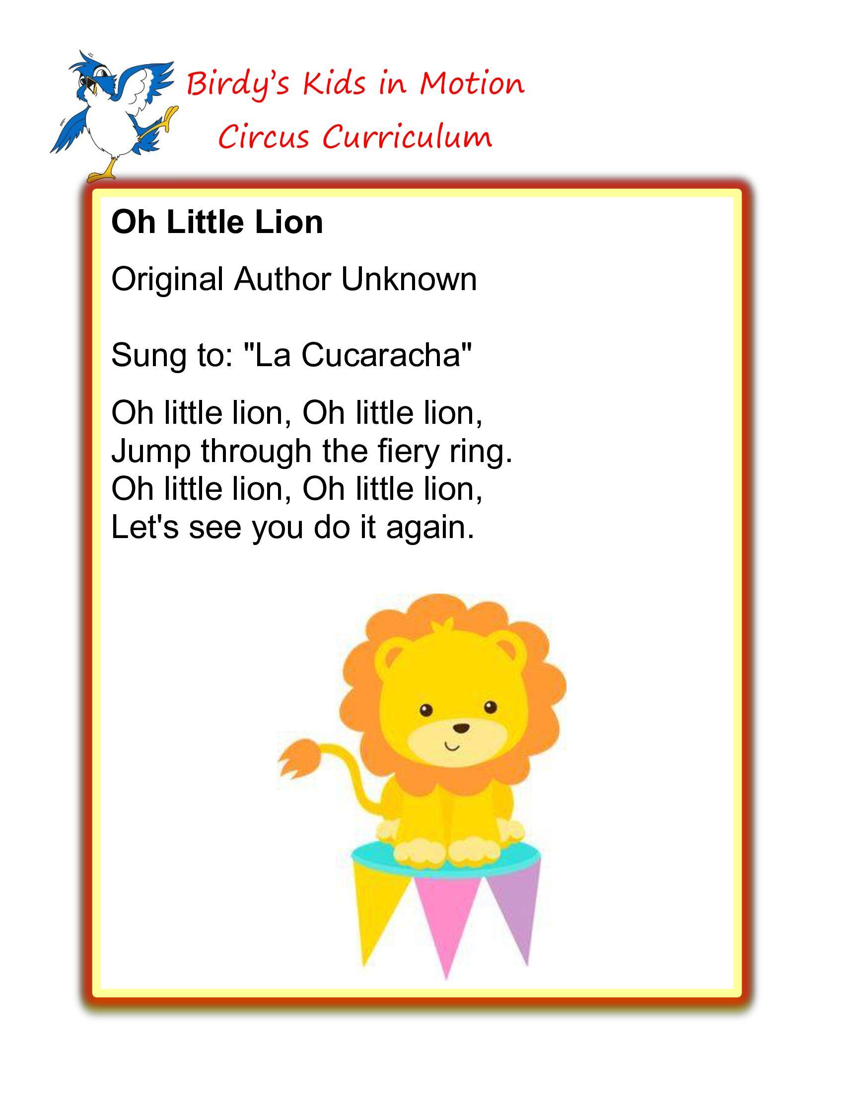 Oh Little Lion Song Birdyskids Toddlercreativemovement