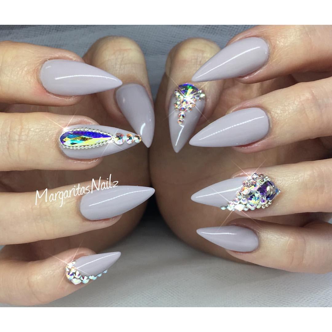 Grey lavender stiletto nails bling nail art summer 2016 ...