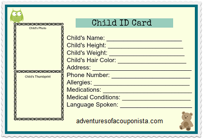 Free Child Id Card Id Card Template Family Emergency Plan Kids Planner