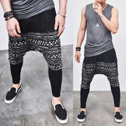 If one try the hammer pants trend again, make sure it looks like its Japanese avant garde....Super low Crotch Contrast Jacquard-Sweatpants 20