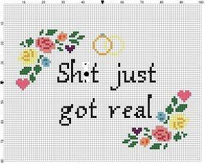 Sh*t just got real- Wedding Cross Stitch Pattern - Instant Download ...