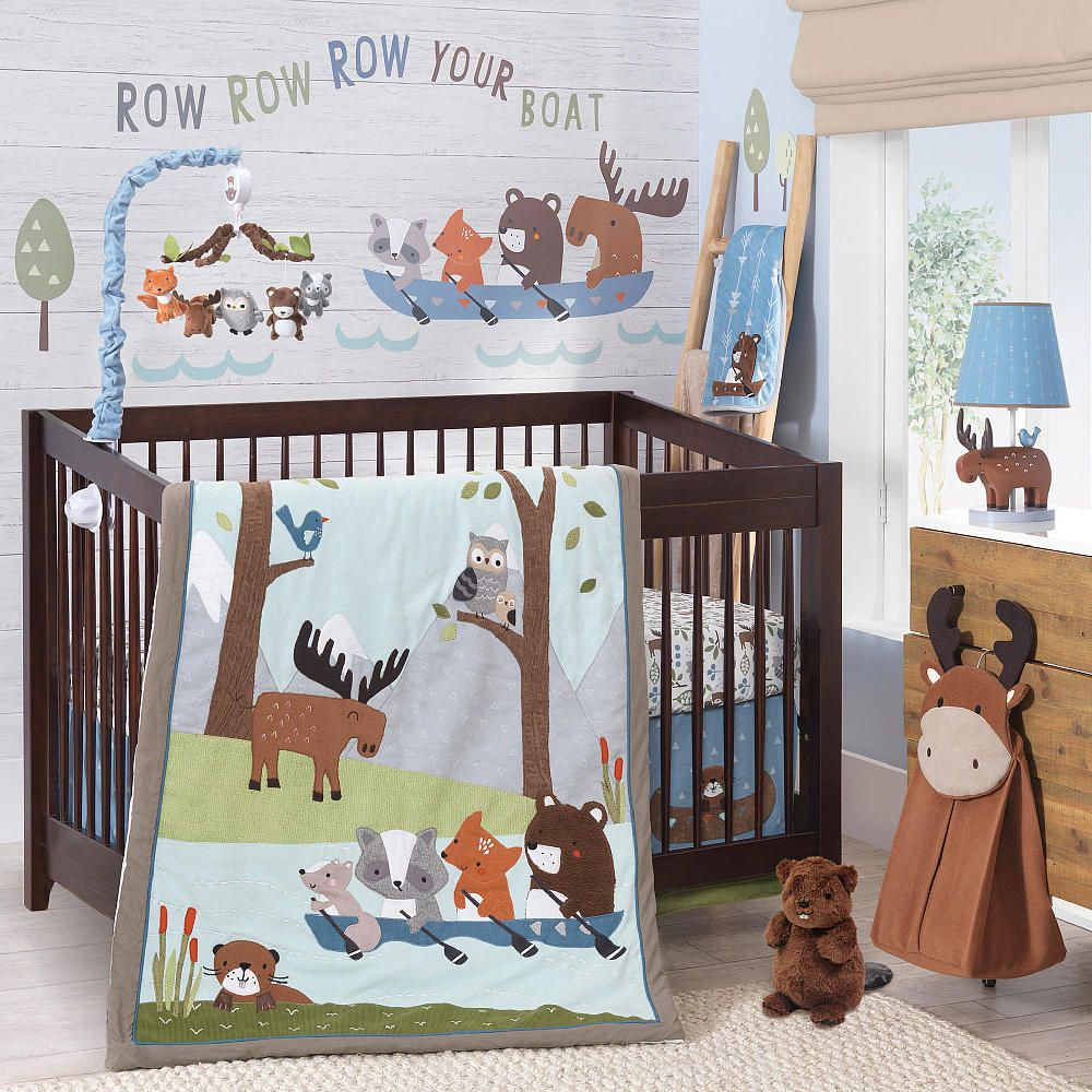 Lambs IvyR Tippy Canoe Blue Brown Camping 4 Piece Crib Bedding Set
