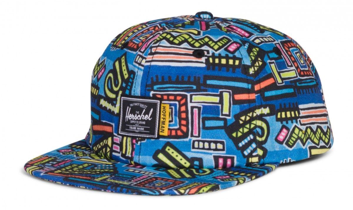 buy popular b0acb bc5fd Herschel Albert Hat Cotton Twill Abstract Geo Blue