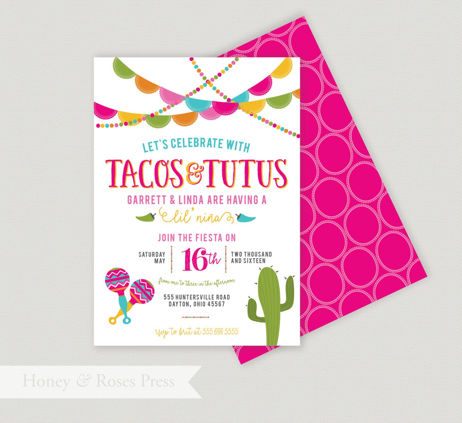 Tacos and Tutus Shower . Fiesta Baby Shower Invite . Mexican Themed ...