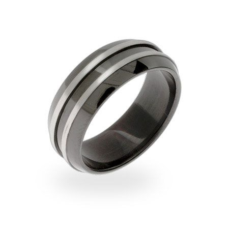 Men's Black Plate Double Steel Row Message Band 29 @ Eve's Addiction
