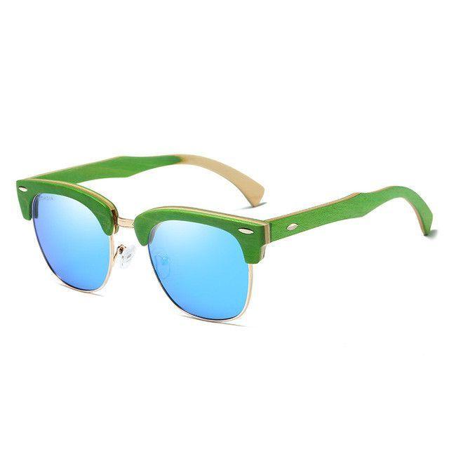 KITHDIA Half Skateboard Green Wooden Sunglasses - 4 Colors