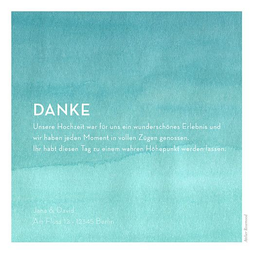 Dankeskarten Hochzeit Aquarell Blau Konfirmation Wedding