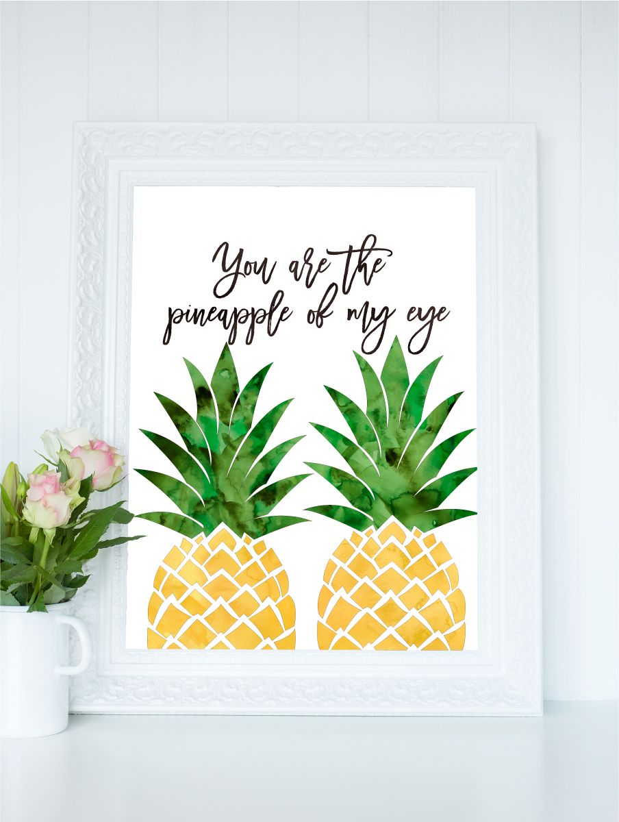 Pineapple printable art watercolor pineapple print you for Kitchen print wallpaper