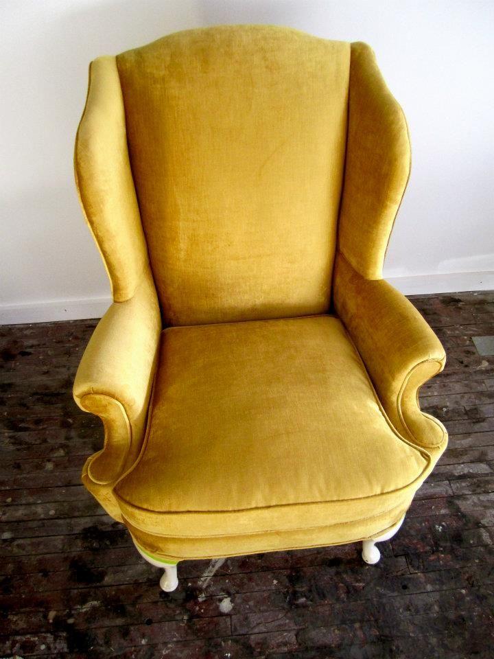 Gorgeous Gold Velvet Comeback On This Client S Vintage Wing Back