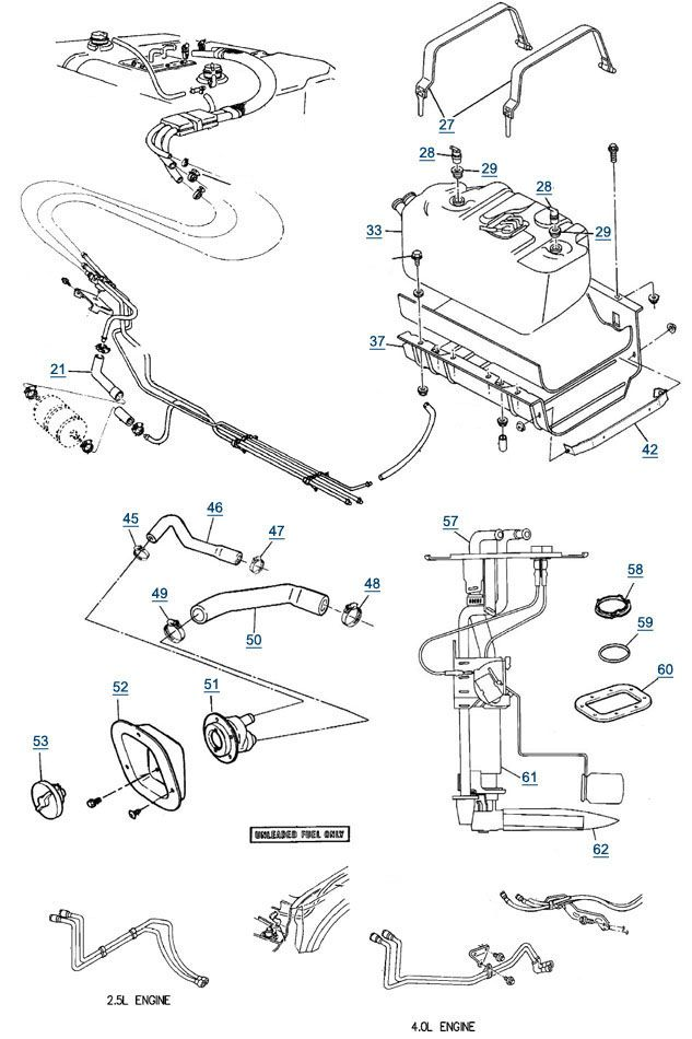 89 Jeep YJ Wiring Diagram | YJ Wrangler Fuel Parts - Filler ... Homemade Jeep Cj Wiring Harness on