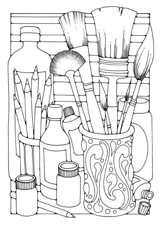Coloring Page Brushes Coloring Books Art Worksheets