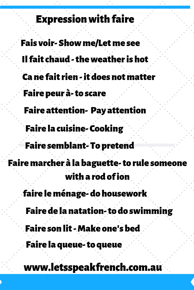 Expressions with faire | Français | French language learning