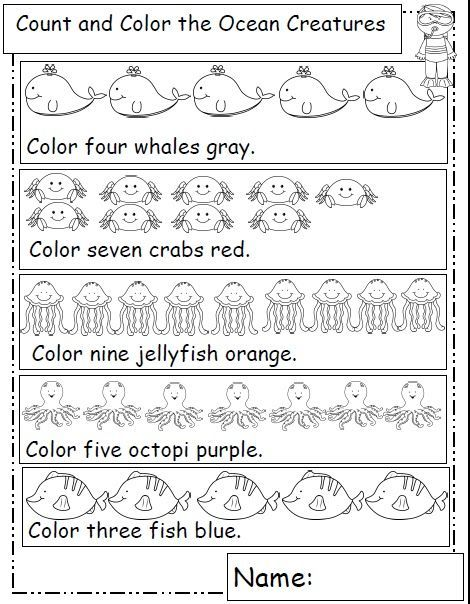 Ocean Animals Ocean Theme Preschool Ocean Unit Math Worksheets