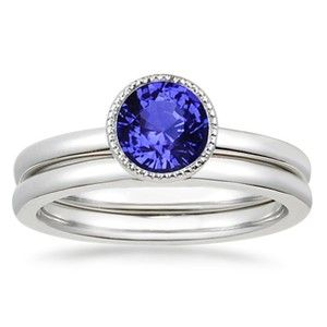 18K White Gold Sapphire Sierra Matched Set, top view