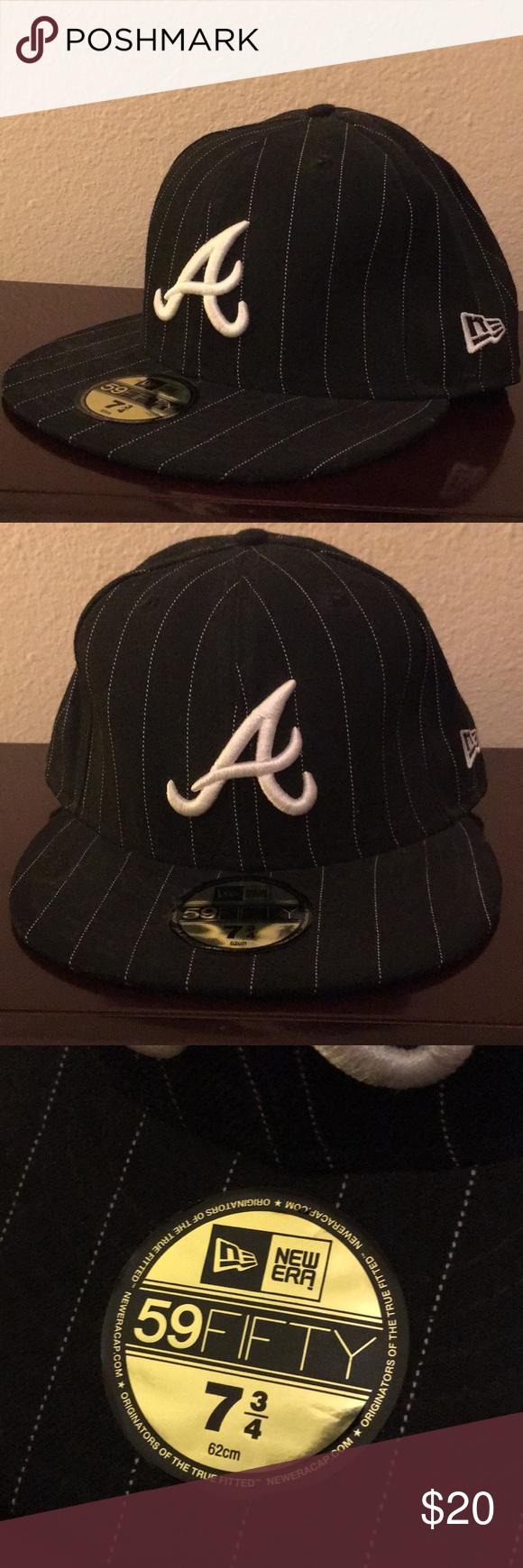 Atlanta Braves Mlb 7 3 4 Black Hat Cap Fitted Men S Fitted Cap By New Era Size 7 3 4 62 Cm Atlanta Braves Black Pinstripes Cap Pr Atlanta Braves Black Braves