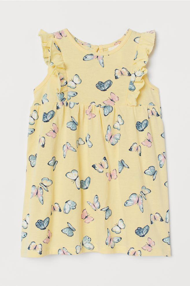 Ruffle-trimmed Cotton Dress - Light yellow/butterflies ...
