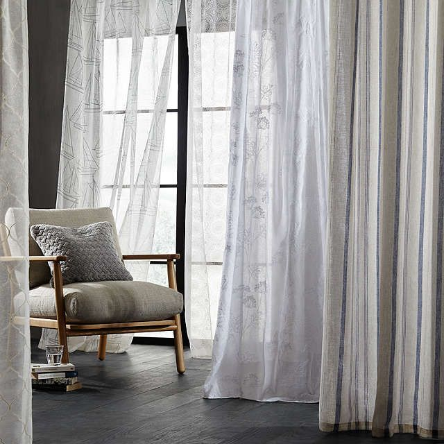 BuyJohn Lewis Padstow Stripe Lined Pencil Pleat Curtains Greige W117 X Drop 137cm Online At Johnlewis