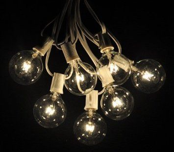 Amazon.com: 25 Foot Globe Patio String Lights - Set of 25 G50 Clear Bulbs with White Cord: Home ...