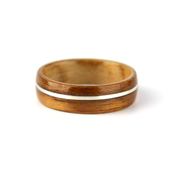 Mahogany Wood Ring with Silver Inlay and Birch Wood Liner // #simplywoodrings