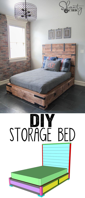 DIY Full or Queen Size Storage Bed | Pinterest | Bett, Kinderzimmer ...