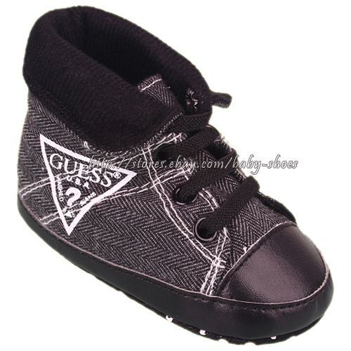 Baby Boy Black Soft Sole Shoes Toddler High Top Boots Size