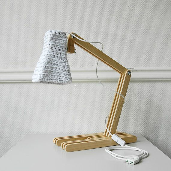 Wooden Table Lamp KUUBO With Crochet Shade / Modern Desk Light / Unique Eco  Lamp /