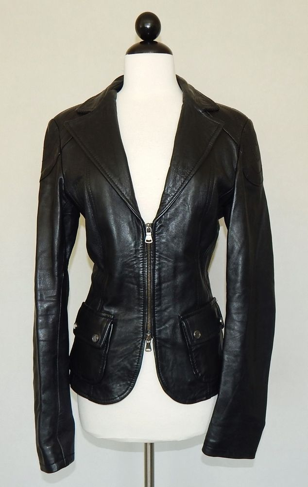 a4ac6a2fb Details about Vera Pelle Black Leather Jacket Women Size S Fitted ...