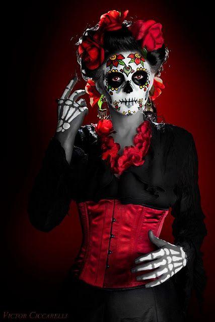 Day of the dead makeup. sugar skull makeup #skulls #skeleton #skeletons