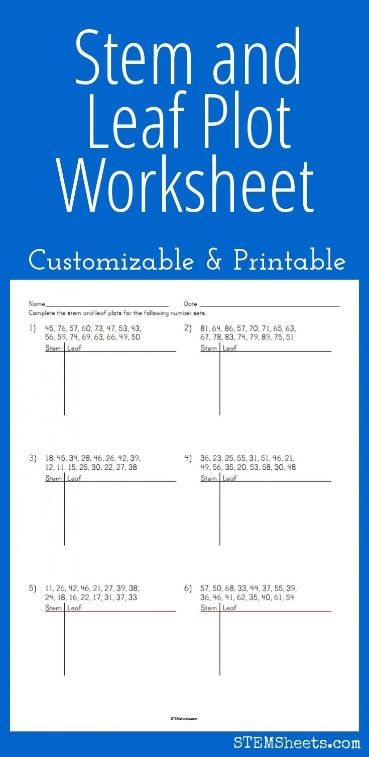 Stem and Leaf Plot Worksheet - Customizable and Printable | Math ...