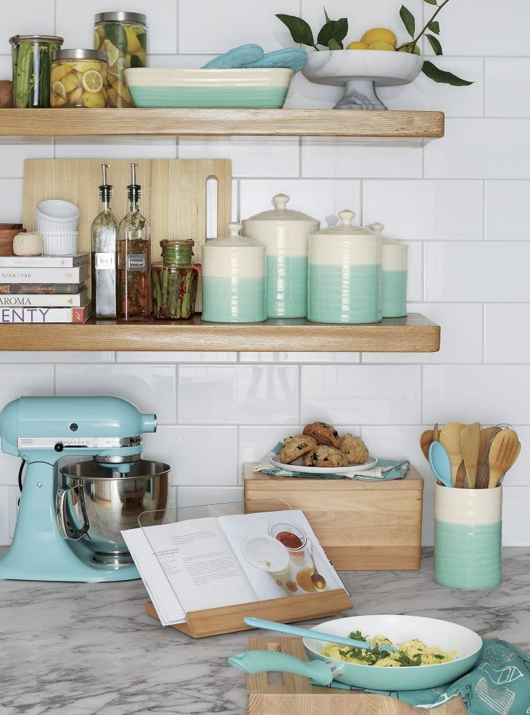 Colorful Kitchen Supplies: The Artisanal Appeal Of Our Aqua Food Canister's Two-toned
