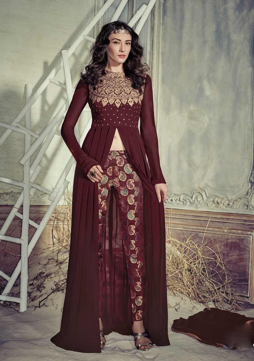 Brown Ethnic Indian Wedding Wear Anarkali Frock With Brocade Salvar