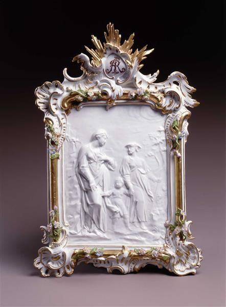 Meissen porcelain and gilt bas relief and frame; c. 1760