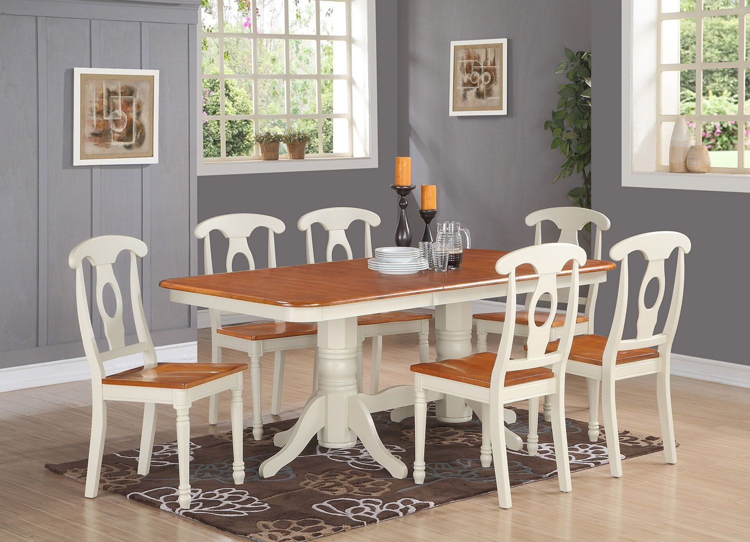 East West Furniture 9Piece Dining Settable With A Leaf And 8 Amusing 9 Pc Dining Room Sets Review