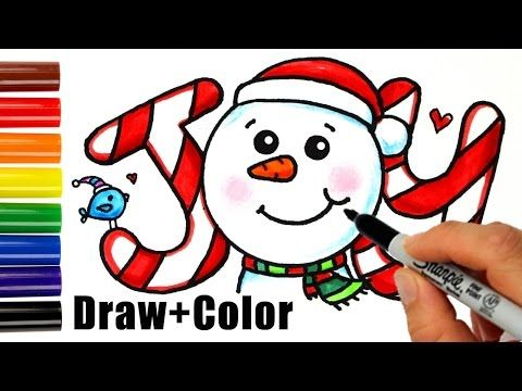 How To Draw Color Snowman Joy In Bubbble Letters Step By