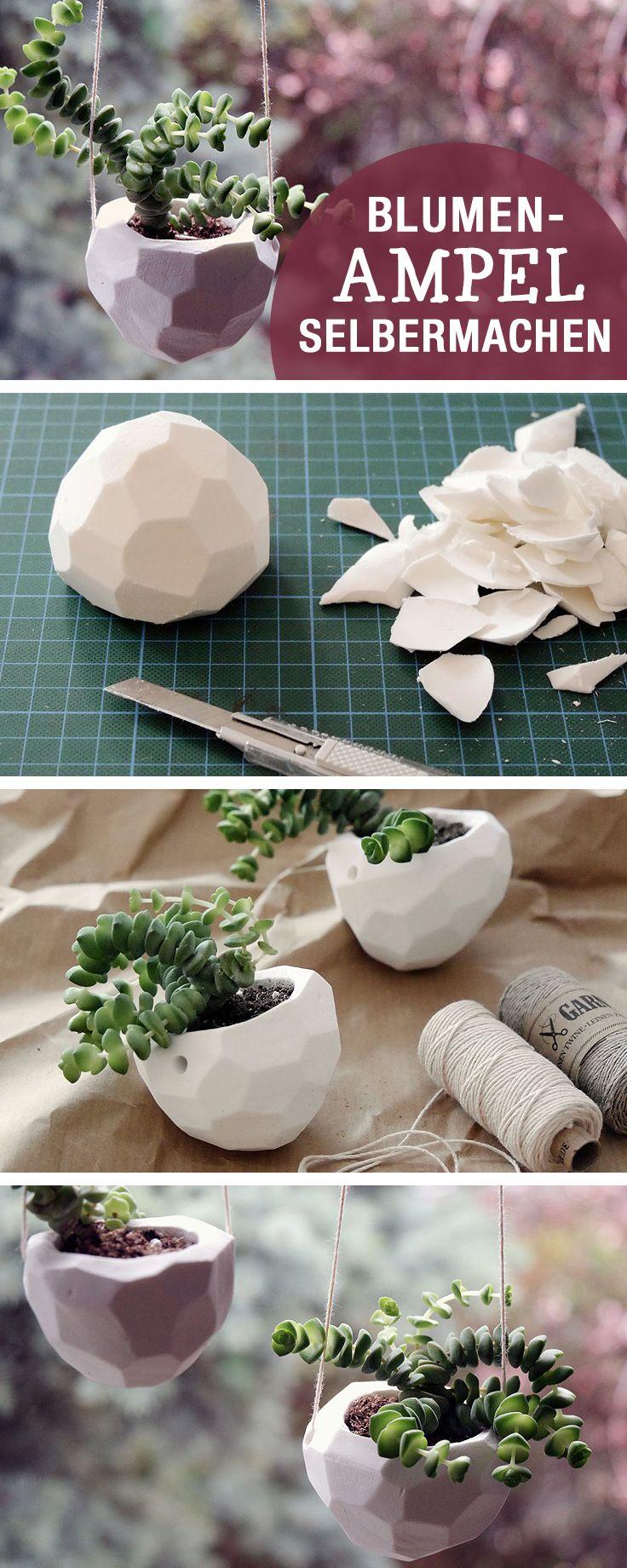DIYAnleitung Blumenampel im Facettenmuster selber machen via