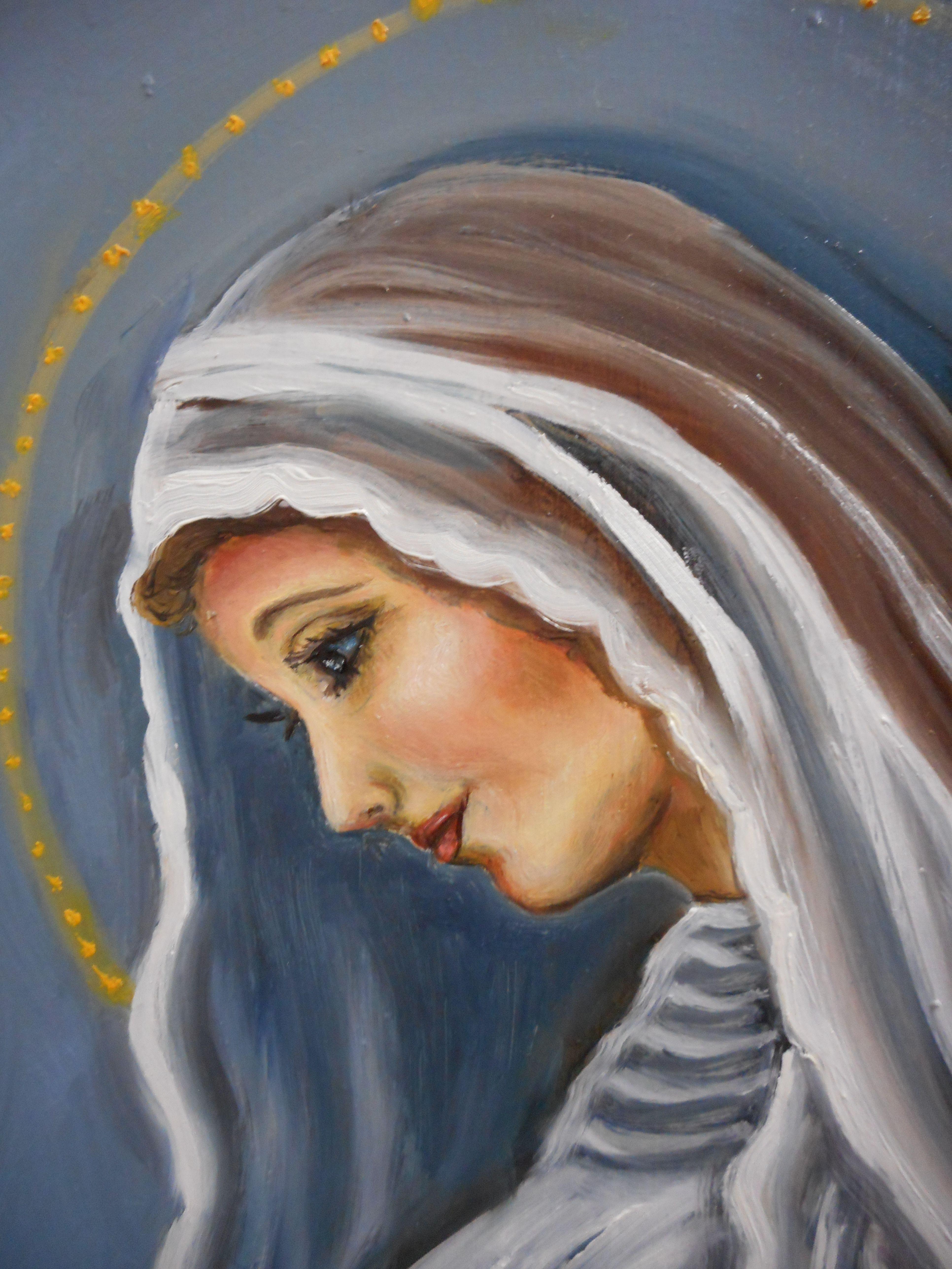 Detalle Del Rostro De Dulce Espera De Maria Oleo Sobre Madera 50 X 45 Cm Pintado Por Ma Eugenia Lara Lopez Art Painting Catholic