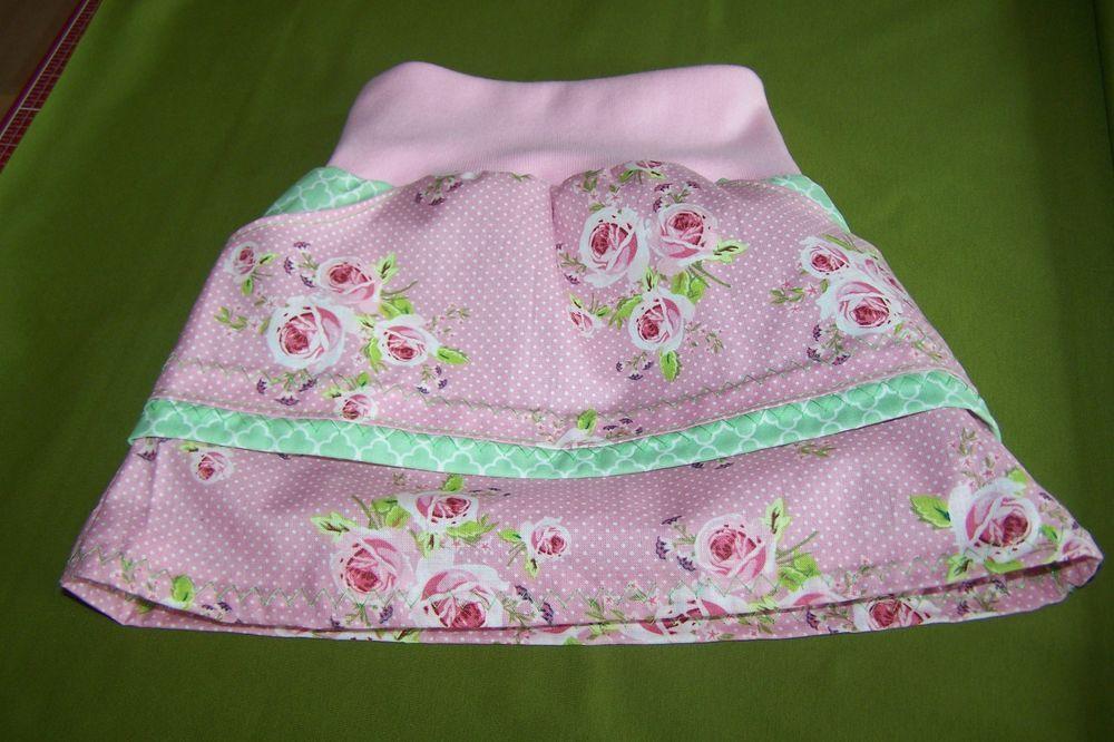 Romantischer Mädchen Sommerrock Rock Rosen Blüten Shabby Lagenoptik Gr.92/98