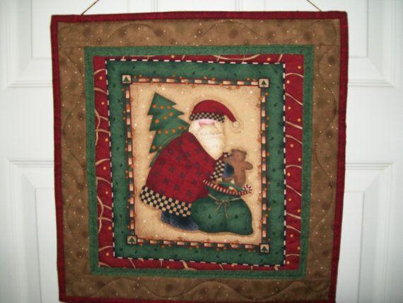 Old World Santa wall hanging Santa with bear by ExpressionQuilts, $16.00