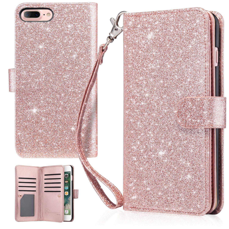 Iphone 7 Plus Case Iphone 8 Plus Wallet Case Urbandrama Glitter Shiny Faux Leather Magnetic Closu Glitter Phone Cases Iphone 7 Plus Cases Glitter Iphone Case