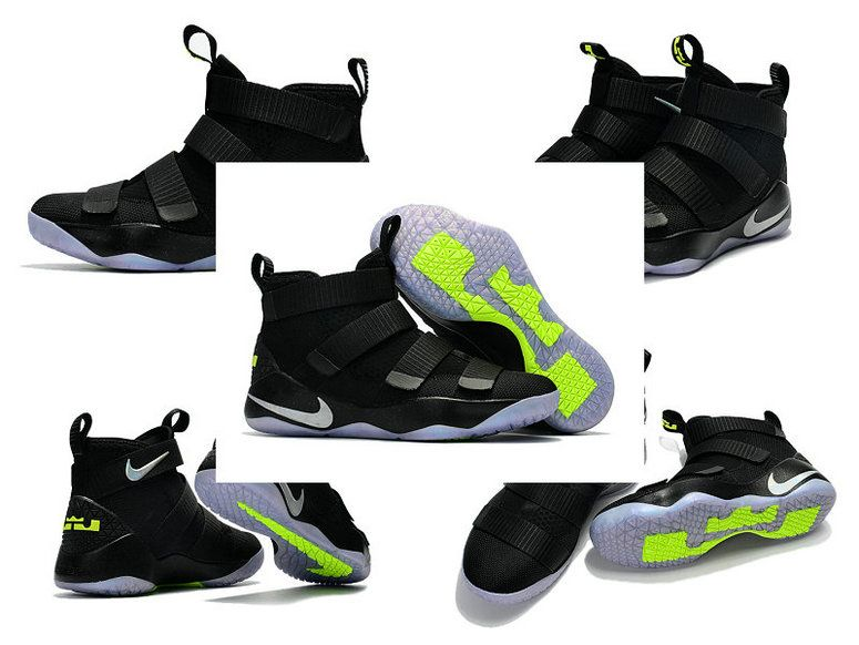 14de23f0349 New Lebrons 2017-2018 Nike Zoom Lebron Soldier 11 XI Black Action Green