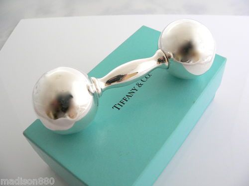 Tiffany Co Sterling Silver Barbell Baby Rattle So Cute