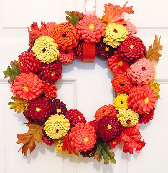 Fall Zinnia Pinecone Wreath Fall Pinecone By