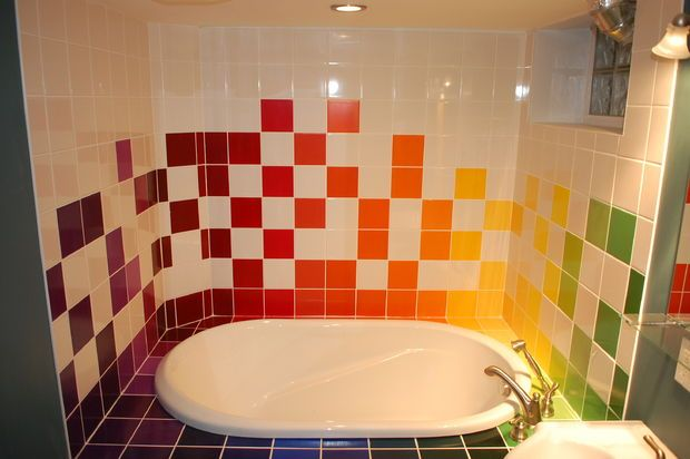 Rainbow Tiled Bathroom | Do It Yourself | Painting bathroom ... on painted bathtub, painted patio designs, painted chairs designs, painted floor designs, painted table designs, painted furniture designs, painted photography, painted boat designs, painted closets, painted door designs, painted carpet designs, painted glass designs, painted room designs, painted porch designs, painted christmas designs, painted fireplace designs, painted bedroom, painted window designs, painted cabinet designs, painted car designs,